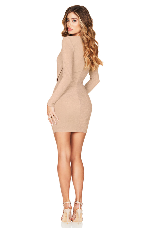 Dreamlover Long Sleeve Mini Dress in Gold by Nookie the Label