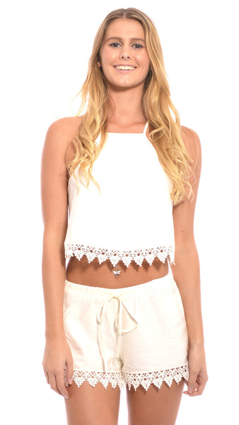 Barley Crochet Top in Cream