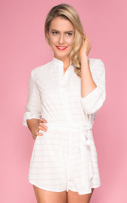Nookie Playsuit, front view of Dreamstate Playsuit in ivory.