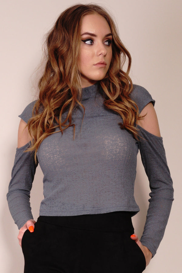 Style State top, front view of the Drop Shoulder Textured Knit Top, in charcoal.