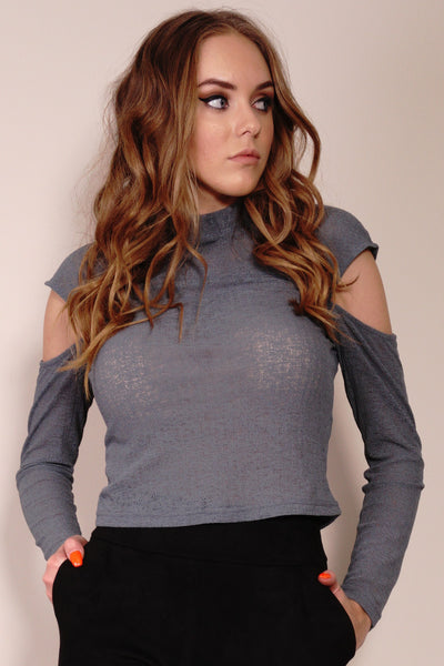 Drop Shoulder Textured Knit Top in Charcoal by Style State Front Crop View