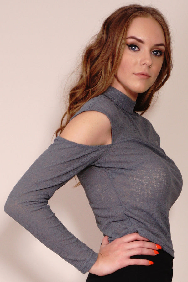 Style State Top, side crop view of the Drop Shoulder Textured Knit Top.