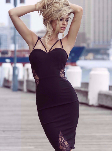 Isabella Dress in Black by Duke n Co Front View
