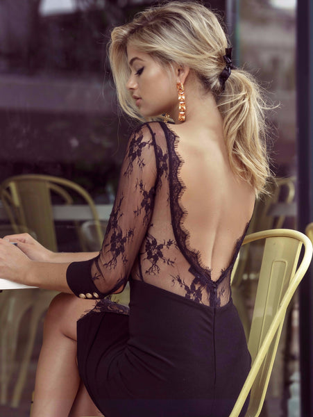 Duke n Co dress, cropped back view of the Allesandra Dress in black.