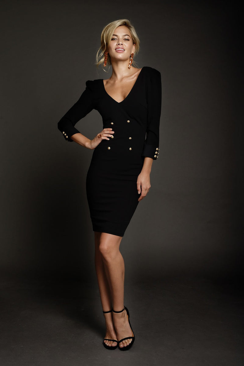 Duke n Co dress, side view of the black Larissa Dress.