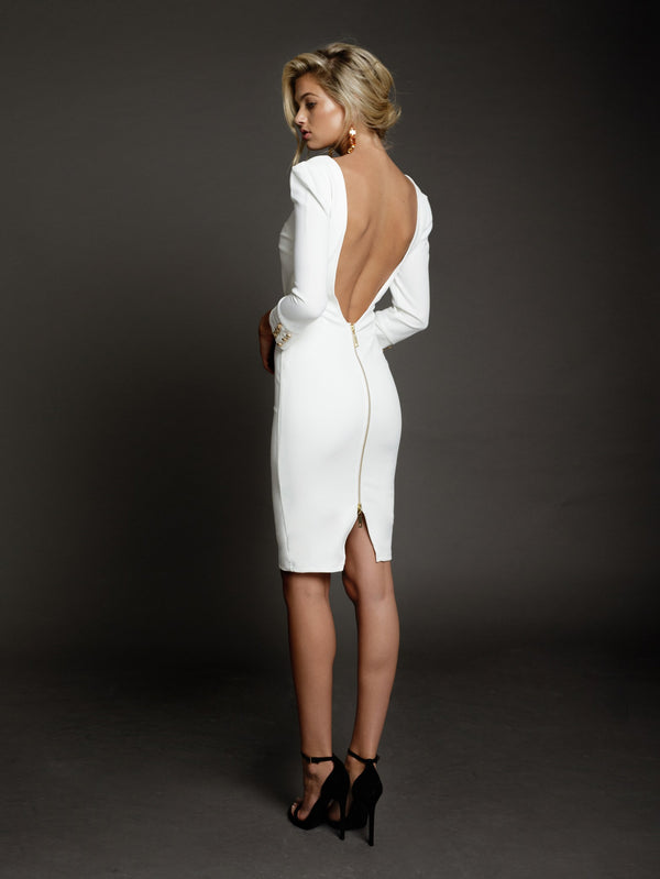 Duke n Co dress, side view of the Larissa Dress in white.