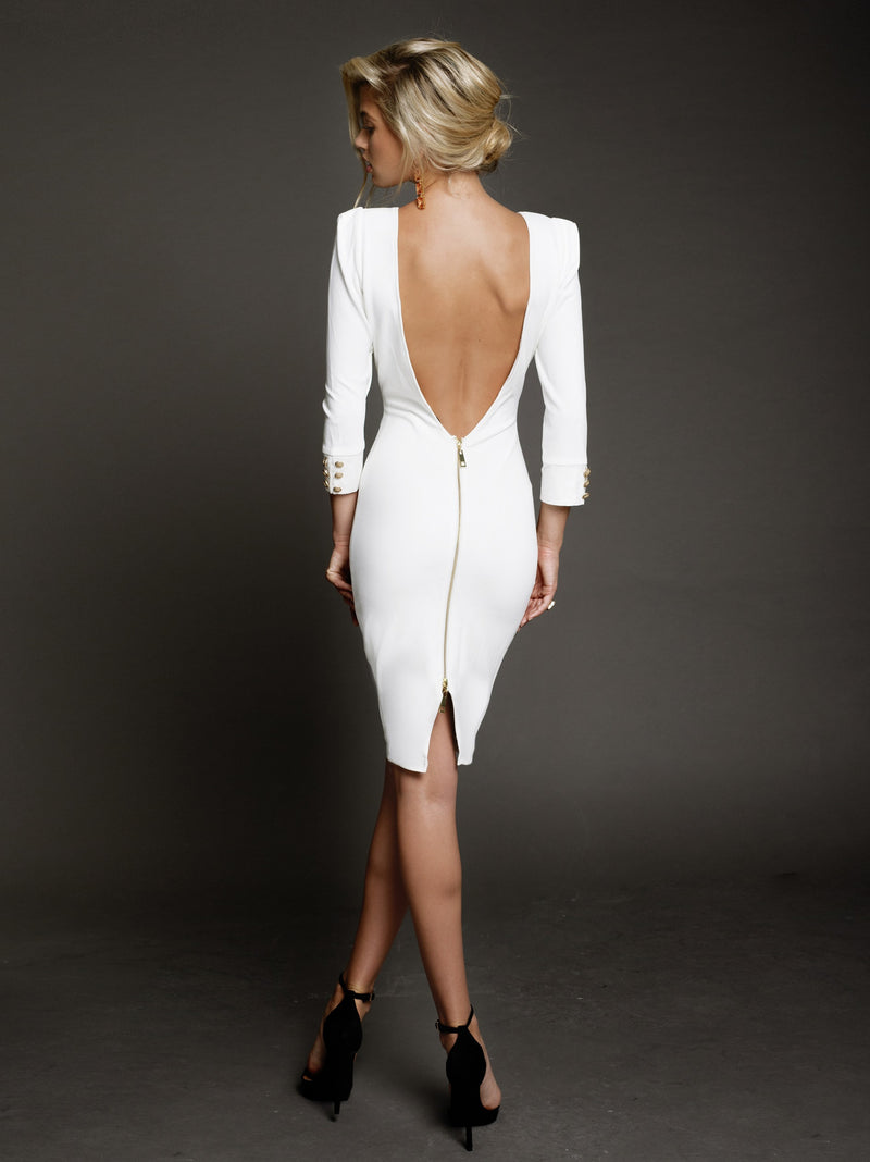 Duke n Co dress, back view of the Larissa Dress in white.