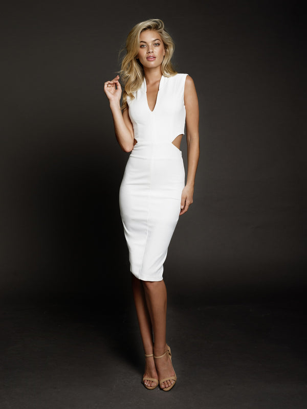 Duke n Co Dress, front view of the Audrey Dress in white.