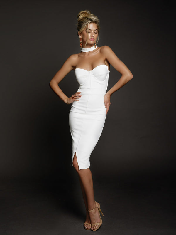 Duke n Co Dress, front view of the Claire Dress in white.