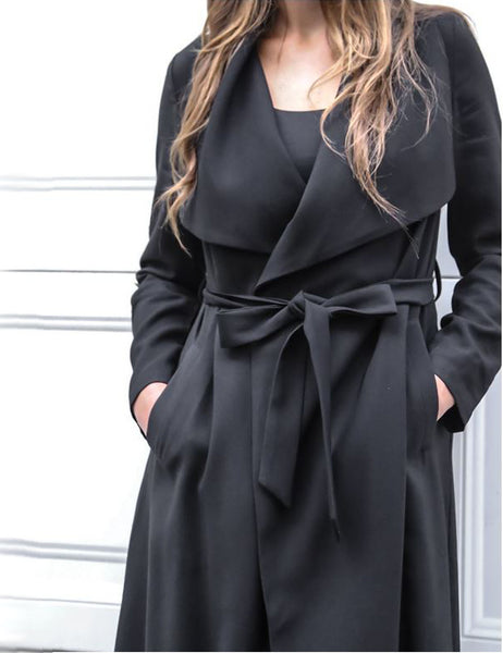 Promises Duster Coat In Black Front Crop View