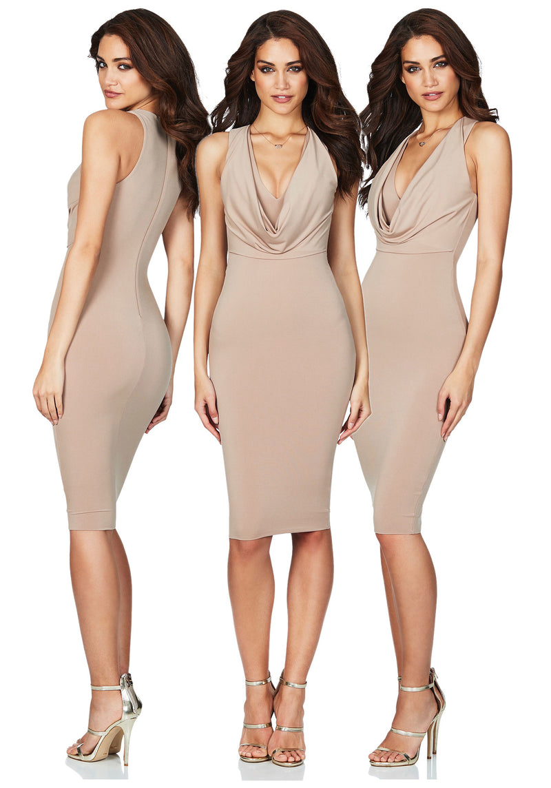 Entice Midi Dress in Latte
