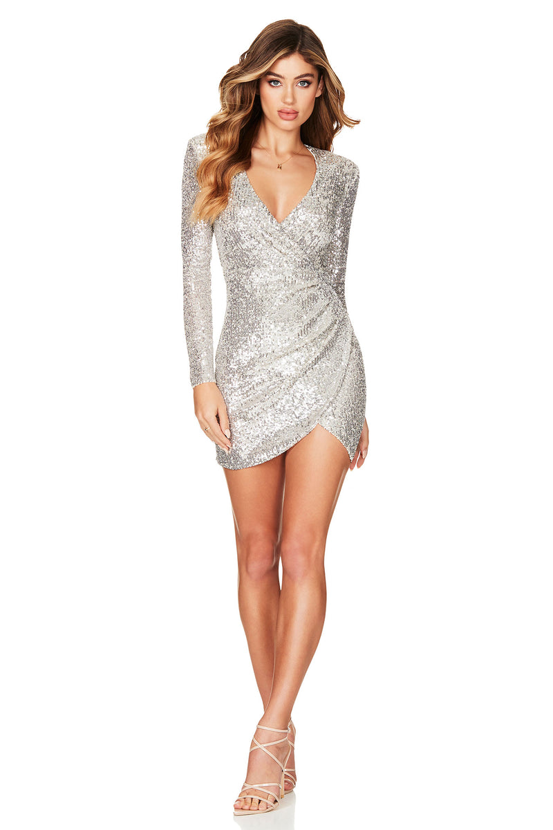 Fantasy Long Sleeve Mini Dress in Silver by Nookie the Label