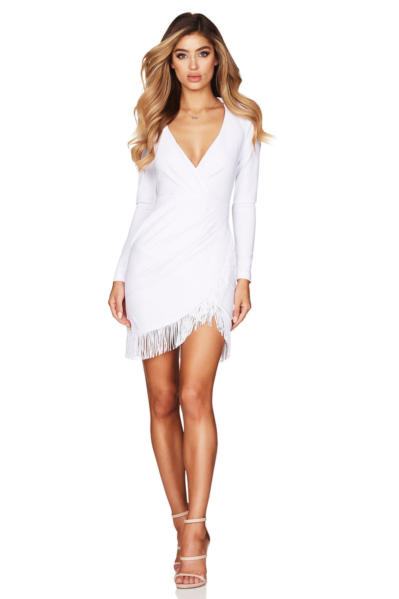 White Long Sleeve Fever Fringe Mini Dress | by Nookie the Label