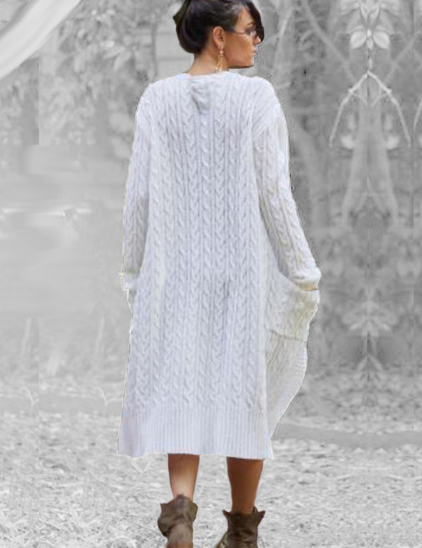 Felix Cable Knit Coat in White by Sundays the Label Back Full View 2