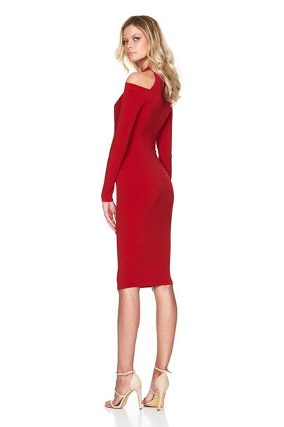 girl talk cowl dress in red by nookie back view