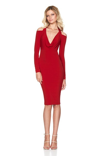 girl talk cowl dress in red by nookie front view