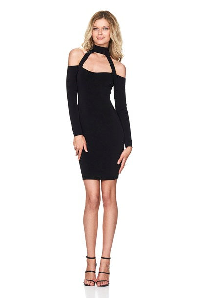 Girl Talk Off the Shoulder Mini Dress in Black by Nookie