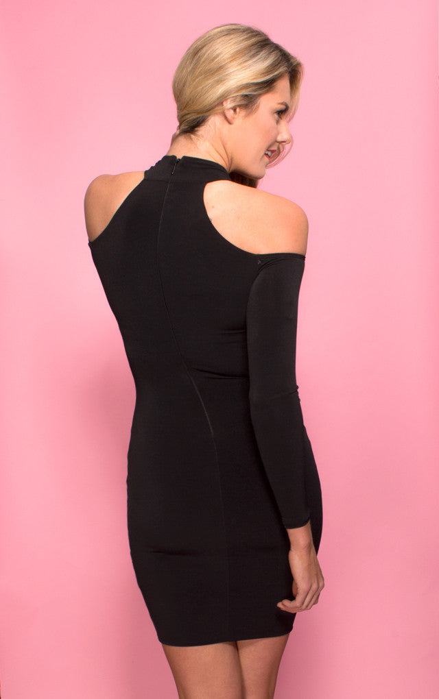 Girl Talk Off the Shoulder Mini Dress, a Nookie dress. Back Crop View.