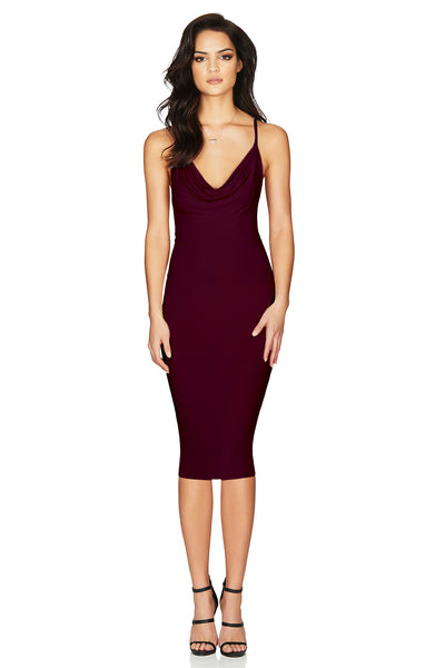 Hustle Midi Dress in Wine by Nookie