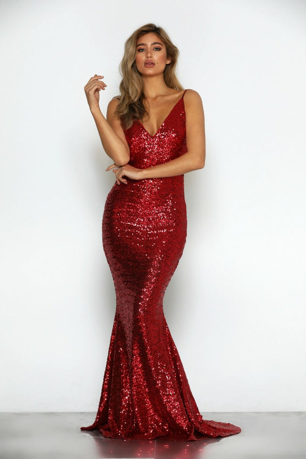 Siena Sequin Gown by Micaah Front View