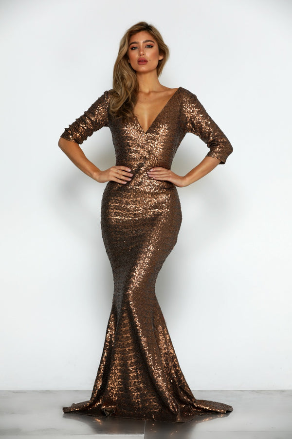 Milan Sequin Gown by Micaah Front View