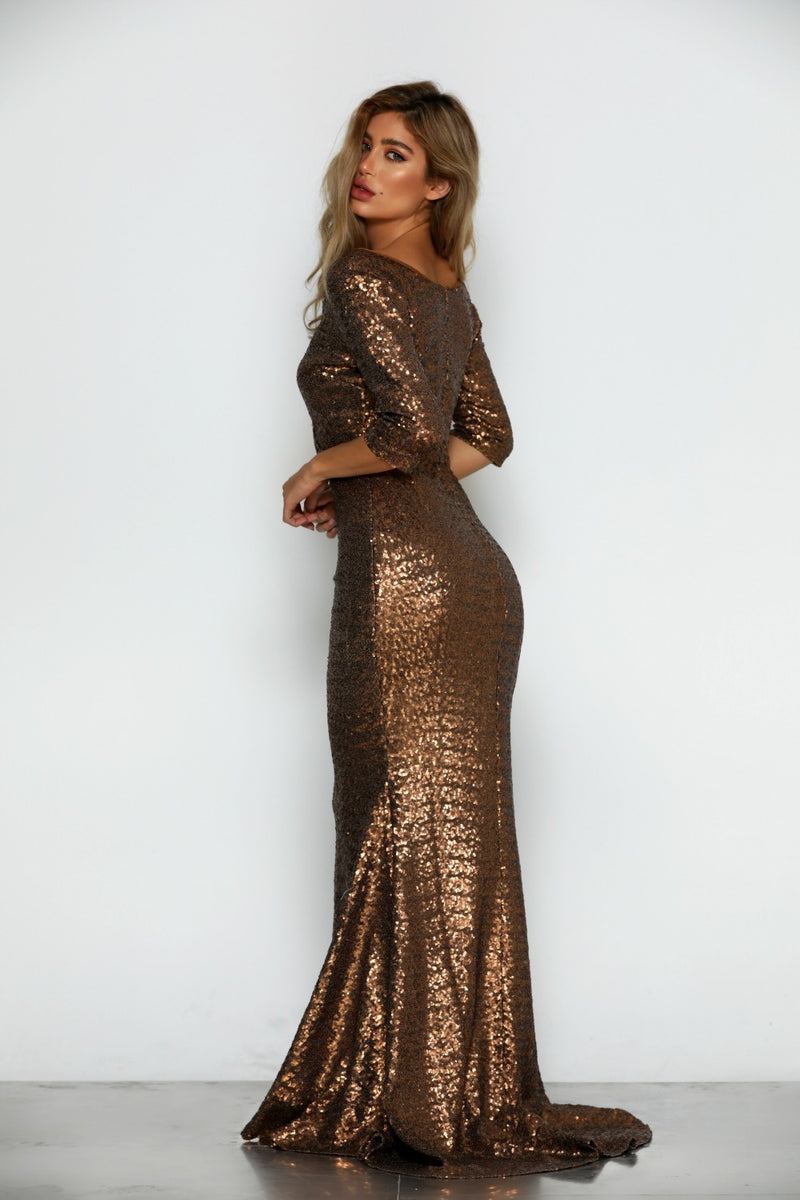 Milan Sequin Gown by Micaah Side View