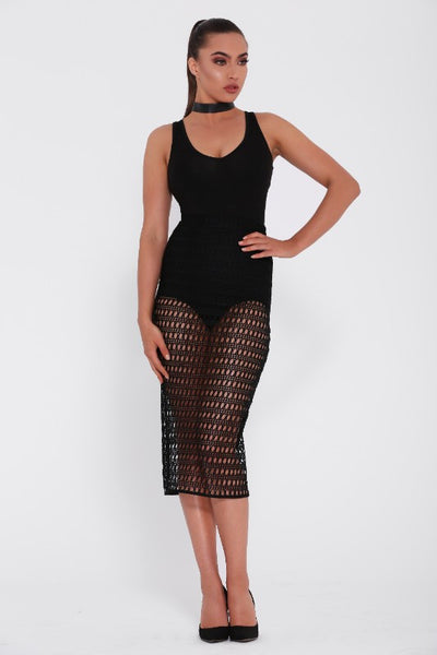 Maddie and Belle skirt. Front view of the Chiara, a black mesh skirt