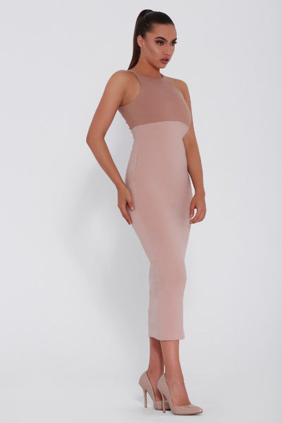 Maddie & Belle dress, front view of the Daniela, a nude coloured bodycon midi dress
