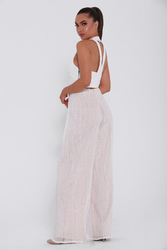 Maddie & Belle pants, back view of the Lola wide leg pants.