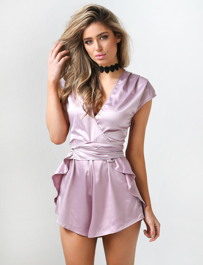 Tiger Mist playsuits, front view of In Your Dreams, a party playsuit in mauve.