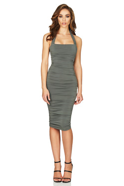 Jolie Halter Midi in Khaki by Nookie