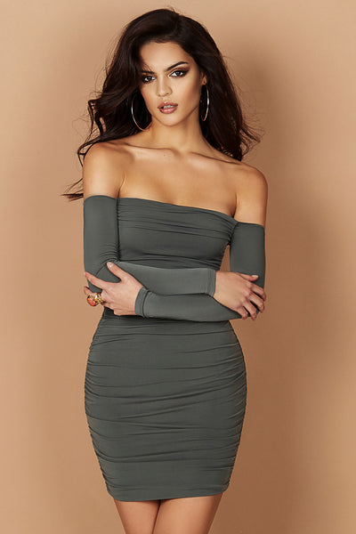 Jolie Plunge Off the Shoulder Mini in Khaki by Nookie