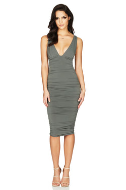 Jolie Plunge Midi in Khaki by Nookie