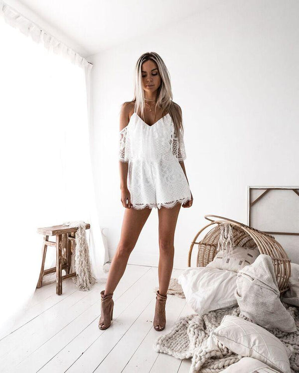 Kylie Playsuit in White by Two Sisters the Label