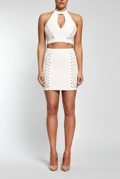Front view of Reign Cartel, Laced Hearts Mini Skirt in white.