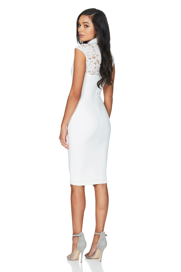 A Nookie Dress, back view of the Lady Lace Midi Dress in white.