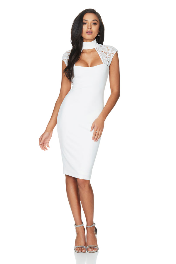 A Nookie dress, front view of the Lady Lace Midi Dress in white.