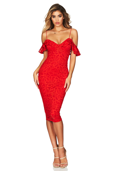 Luna Lace Midi in Cherry Red by Nookie