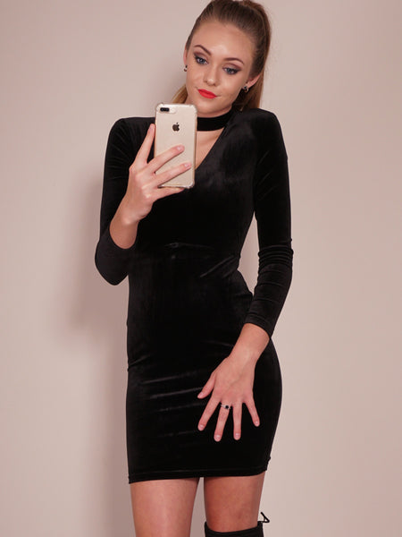 Late Nights Dress in Black Front Cropl View