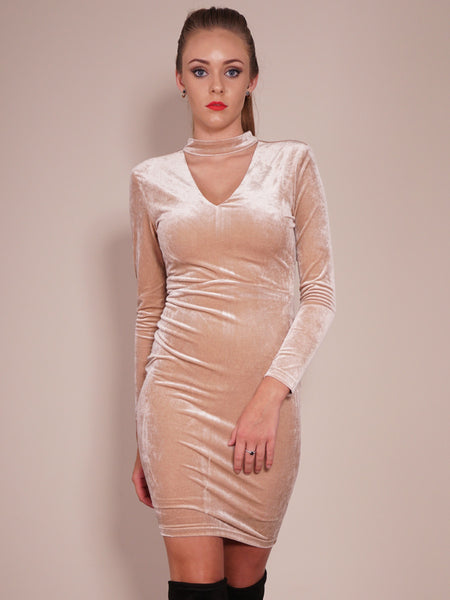 Late Nights Dress in Champagne Front Crop View