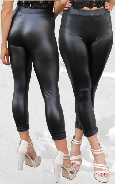 Lola Leatherette Leggings by Madison Square Clothing Front Crop View
