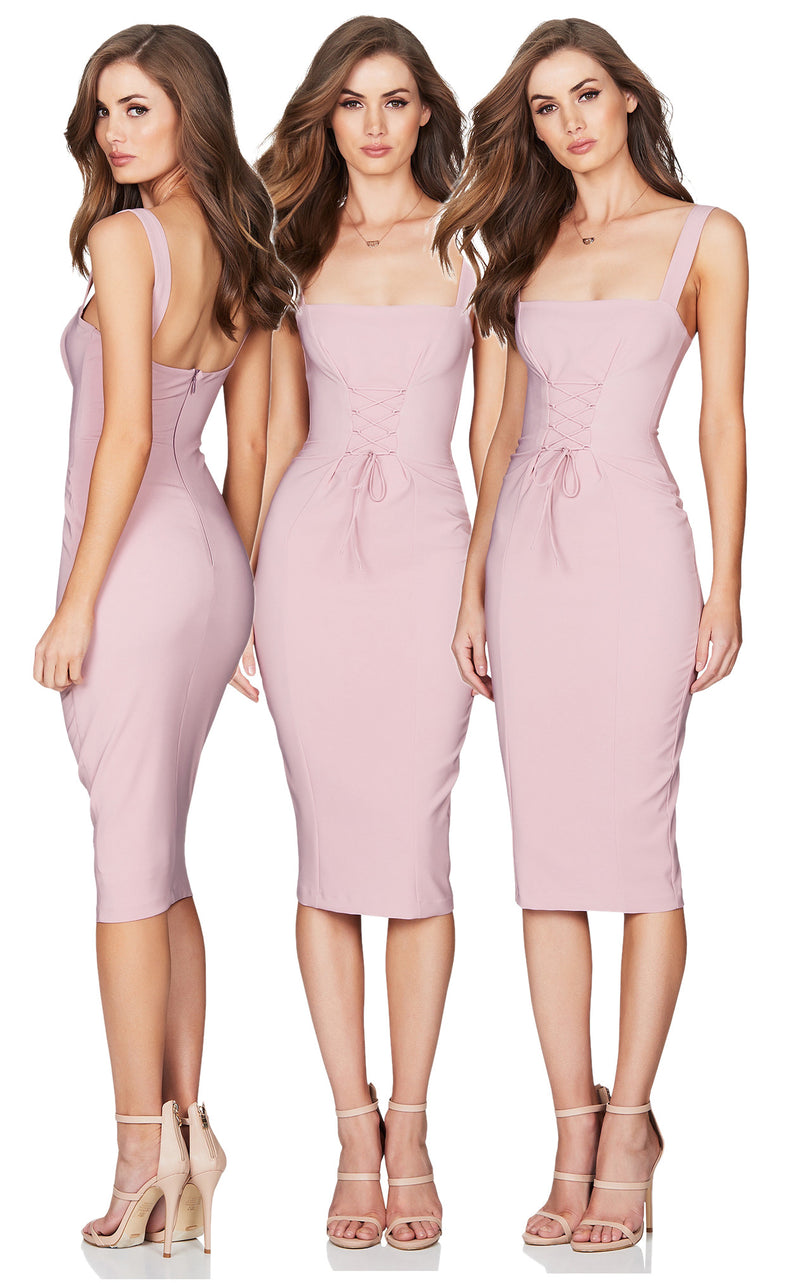 London Midi Dress in Dusty Pink by Nookie the Label