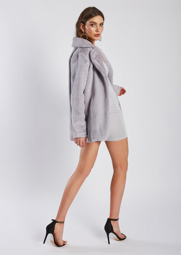 Monaco Faux Fur in grey by Luxe Fashion Label