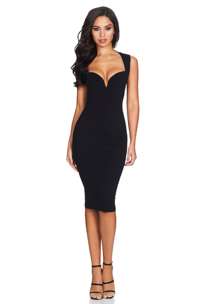 Madonna Midi Dress in Black by Nookie