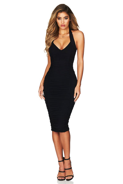 Mystic Mesh Halter Midi Dress in Black by Nookie