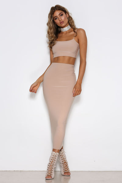 Madeline Skirt in Nude by Shari Benjamin  front veiw