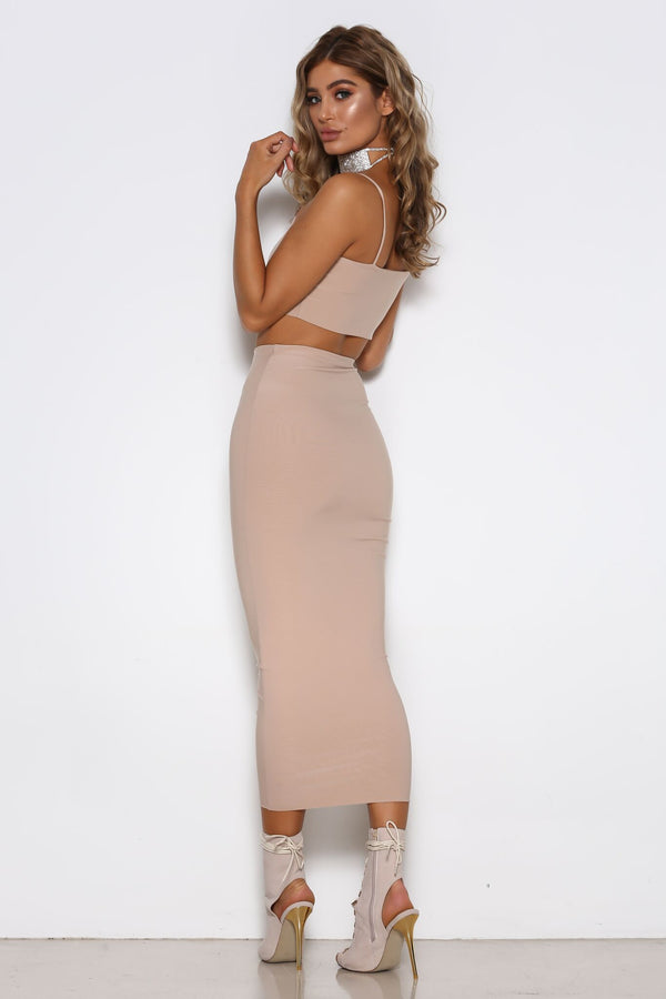 Madeline Skirt in Nude by Shari Benjamin  back veiw
