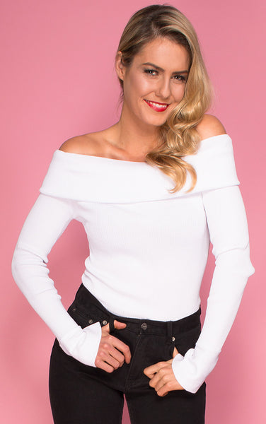 Maggie May Off the Shoulder Top in White