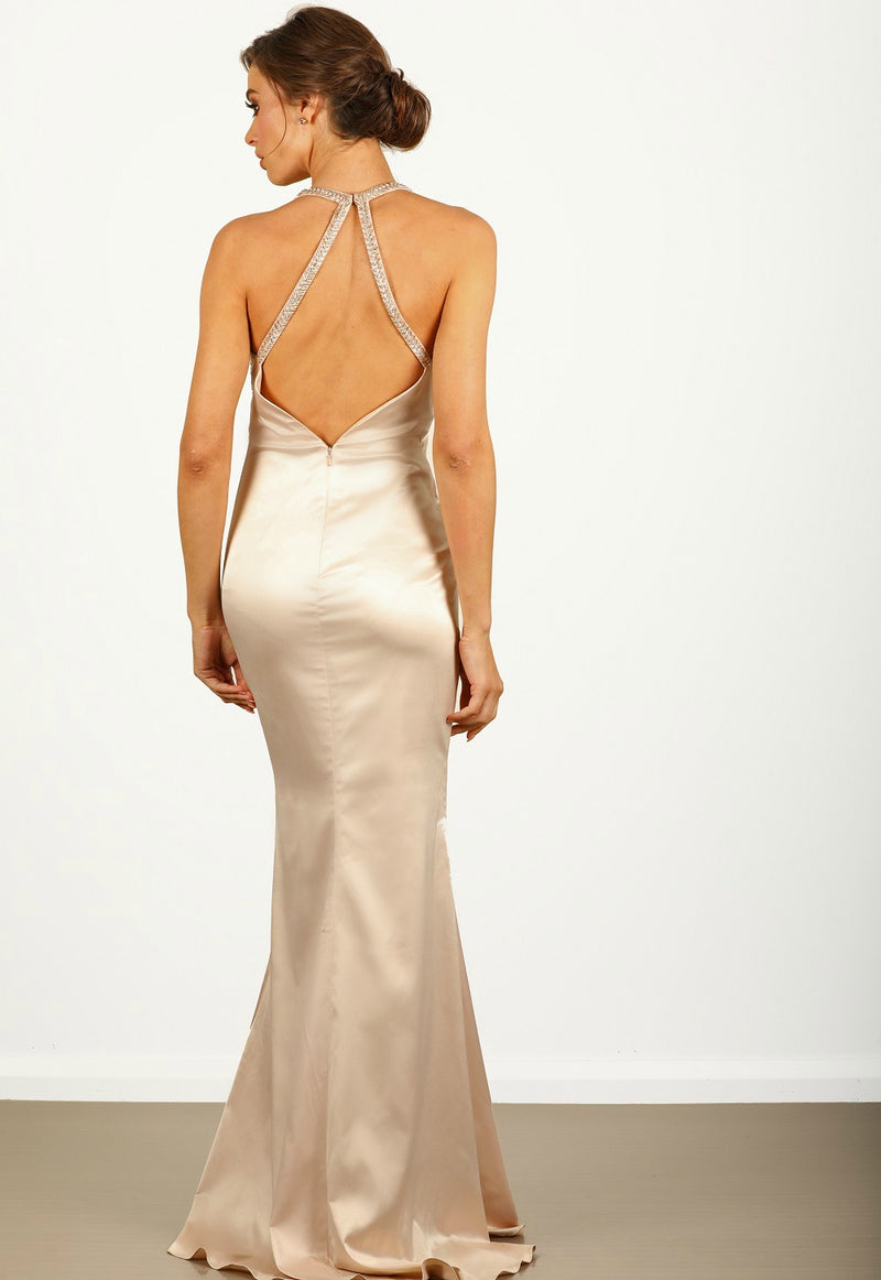Melody Satin Gown in Champagne