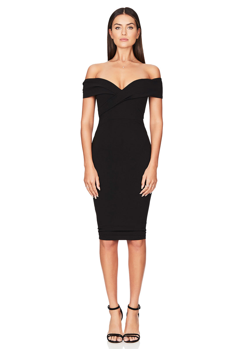 Black Neptune Off Shoulder Midi Dress | by Nookie the Label